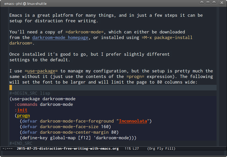 Emacs darkroom-mode