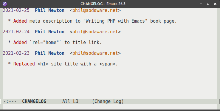 An example CHANGELOG file